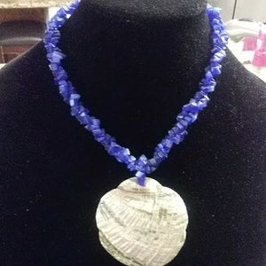 Blue stone and shell necklace
